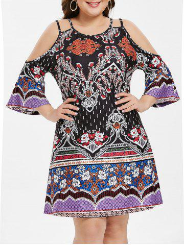 Open Shoulder Plus Size Tribe Print Shift Dress