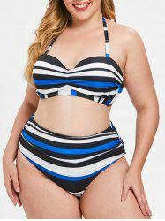 Halter Neck Plus Size Striped Panel Bikini Set -