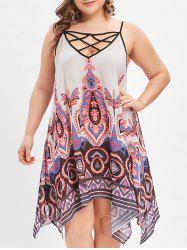Criss Cross Plus Size Ethnic Print Cami Dress -