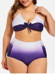 High Waist Plus Size Ombre Bikini Set -