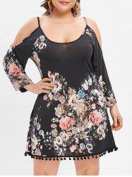 Cold Shoulder Pompom Plus Size Floral Dress -