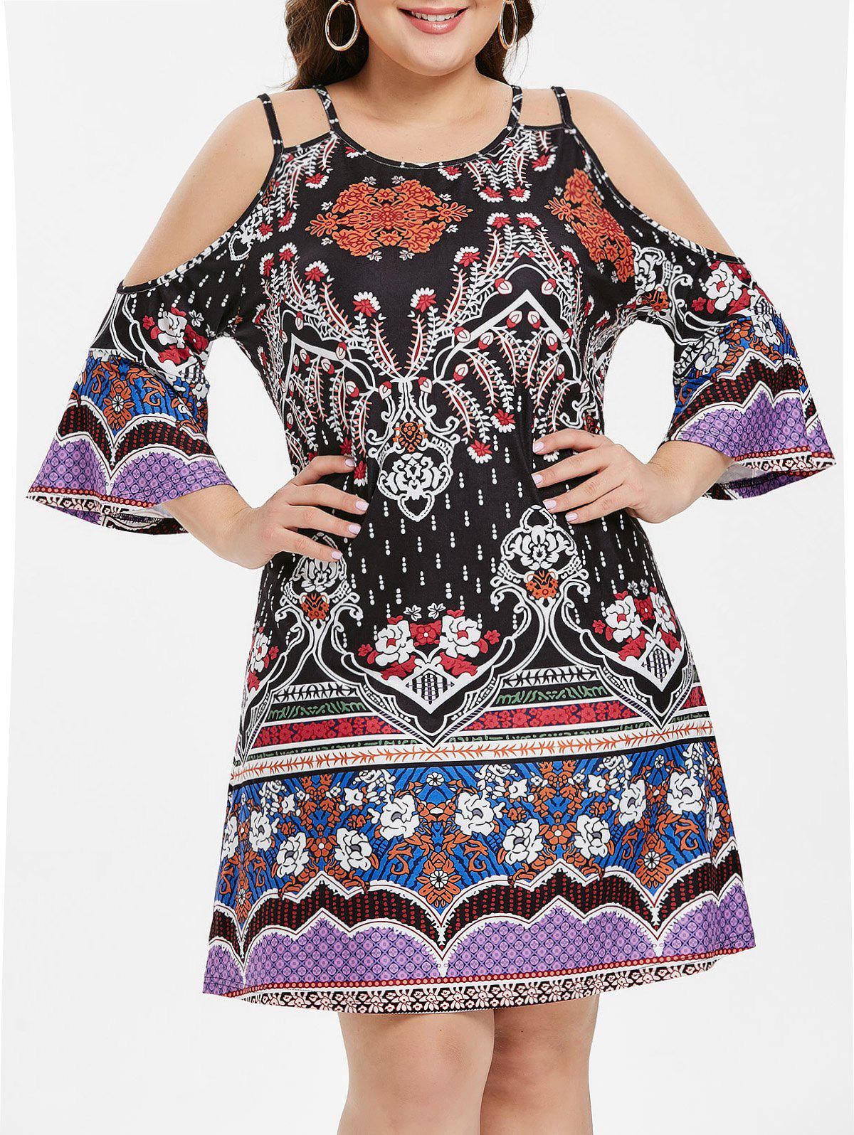 Shops Open Shoulder Plus Size Tribe Print Shift Dress