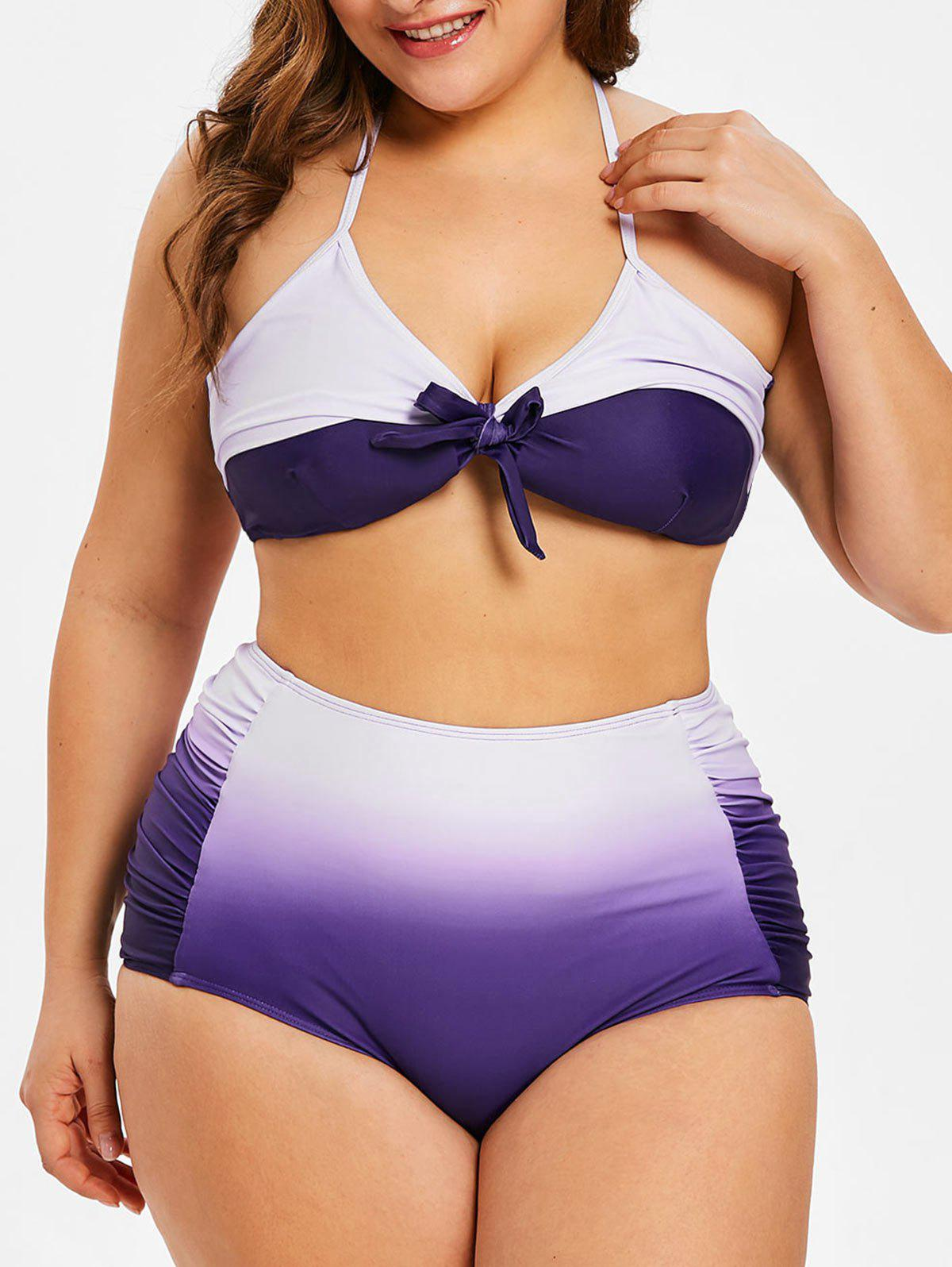Trendy High Waist Plus Size Ombre Bikini Set