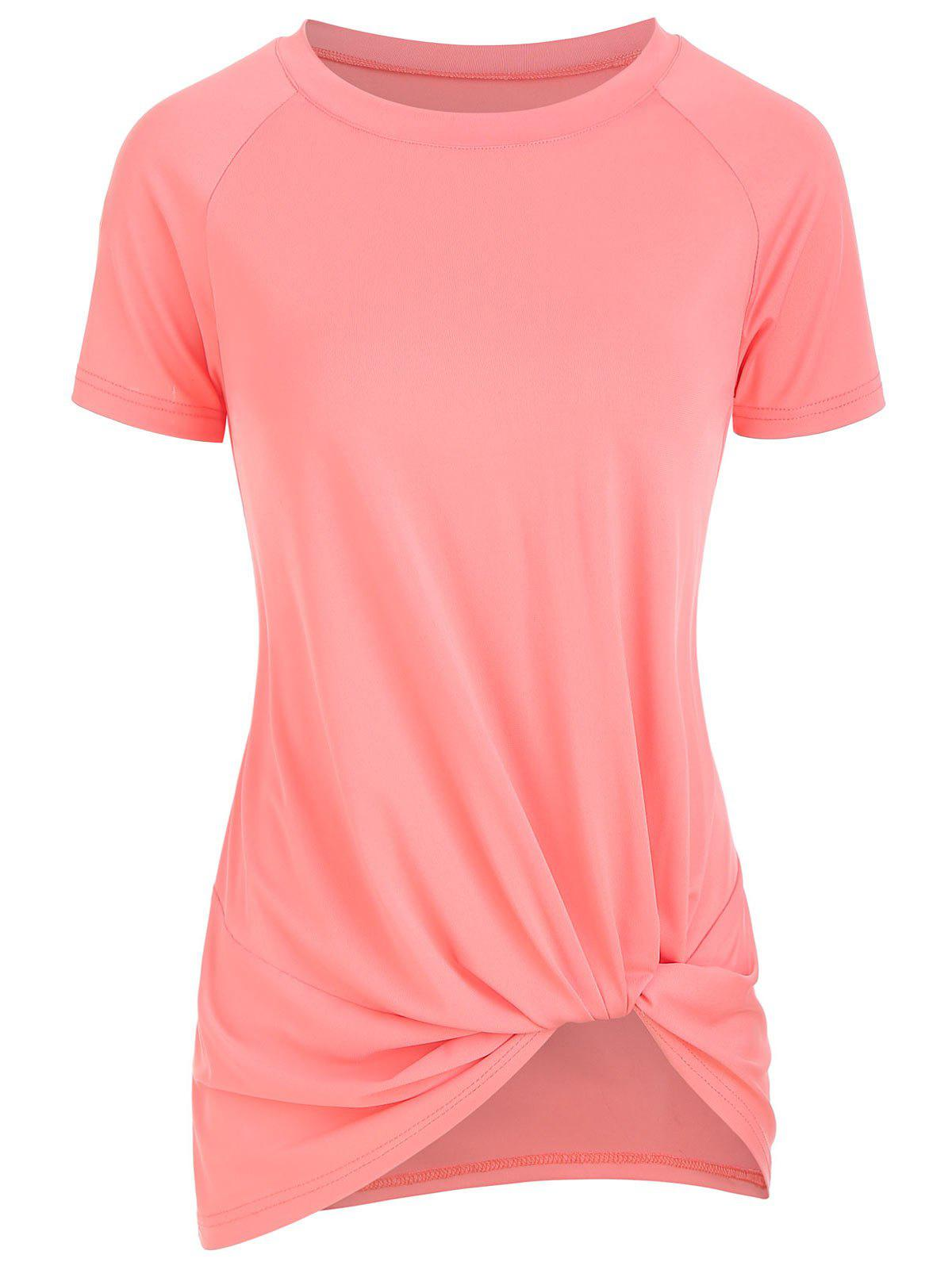 Chic Knotted Short Sleeve Round Neck Tee