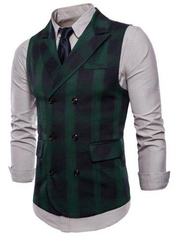 Lapel Collar Double Breasted Plaid Waistcoat