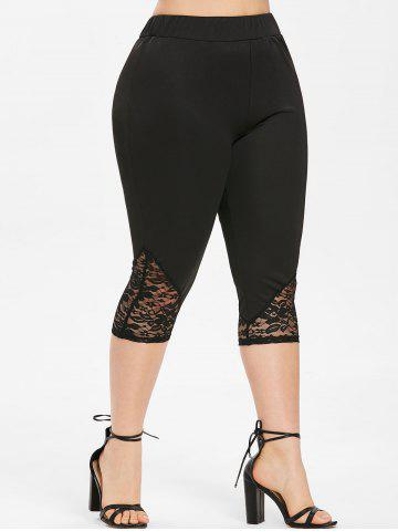 e3dcd80e7a8 Plus Size Lace Insert Capri Leggings