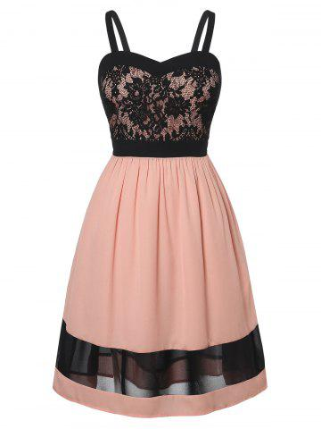 Plus Size Fit And Flare Lace Panel Dress