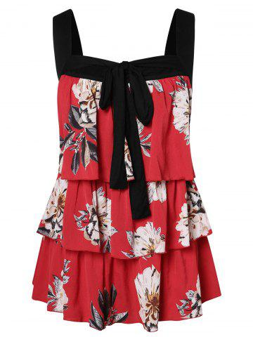 Plus Size Tiered Floral Print Tank Top