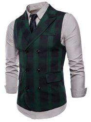 Lapel Collar Double Breasted Plaid Waistcoat -
