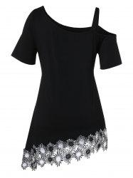 Plus Size Skew Neck Applique Asymmetrical T-shirt -