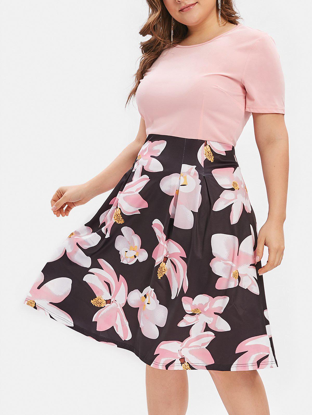 Flower Plus Size Midi A Line Dress фото
