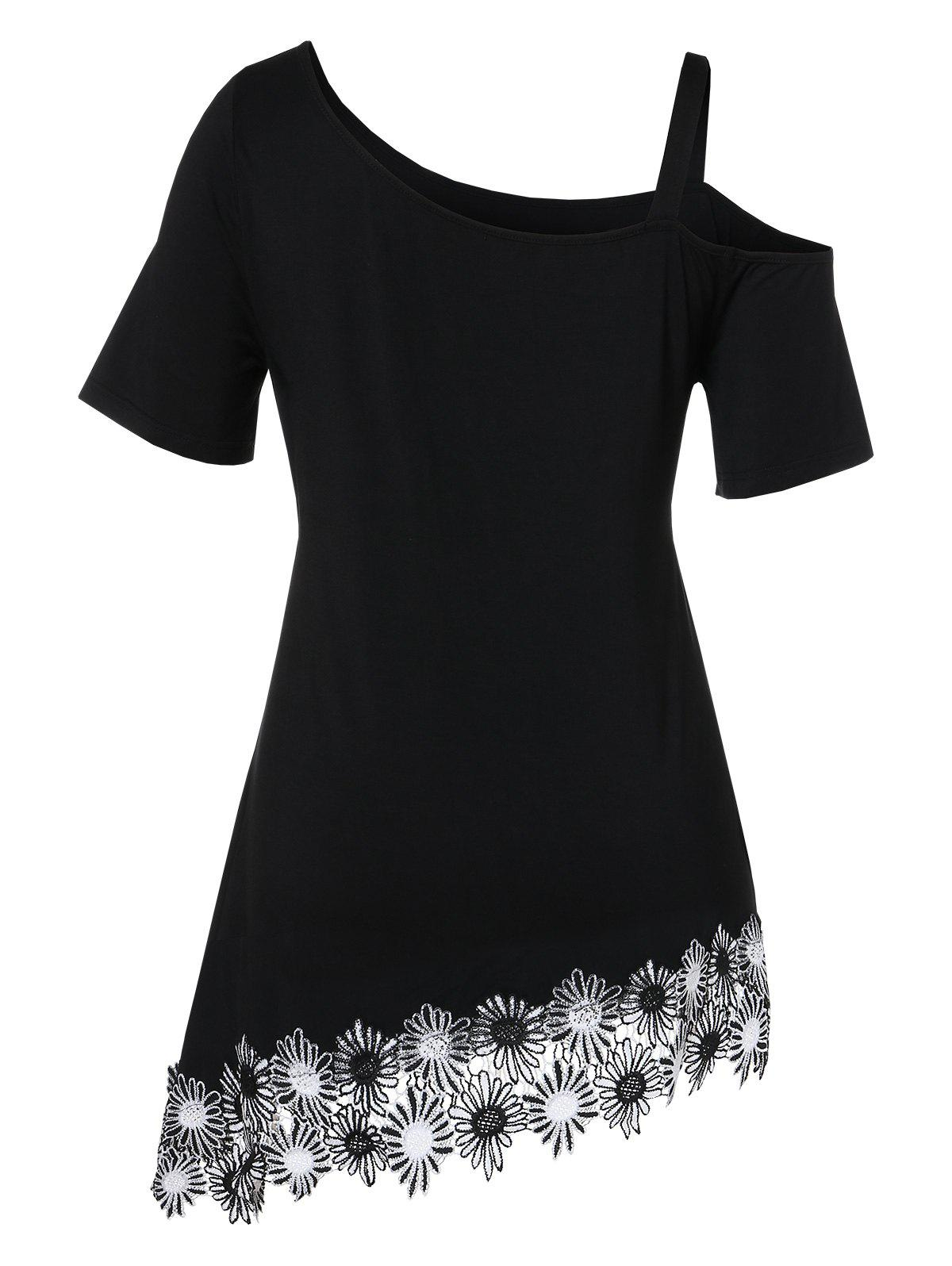 Buy Plus Size Skew Neck Applique Asymmetrical T-shirt