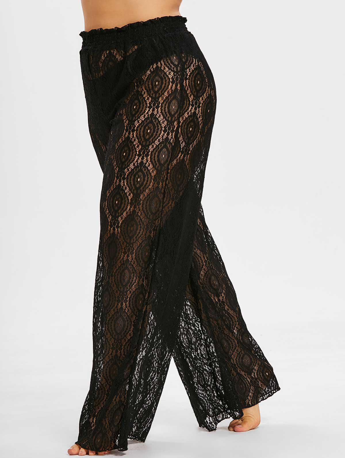 Affordable Plus Size See Thru Wide Leg Pants