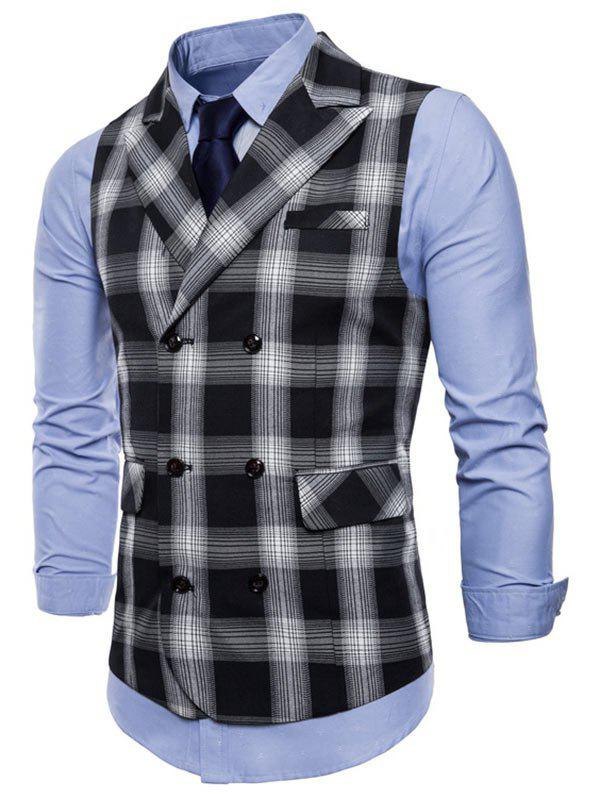 Shops Lapel Collar Double Breasted Plaid Waistcoat