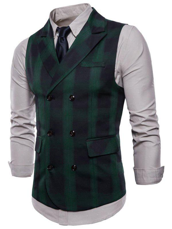 Unique Lapel Collar Double Breasted Plaid Waistcoat