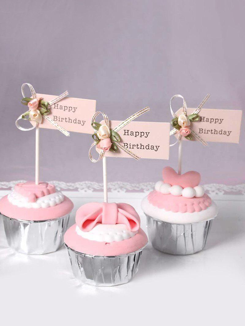 Fashion Flower And Letters Pattern Birthday Cake Topper