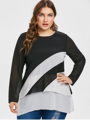 Plus Size Two Tone Overlay Blouse