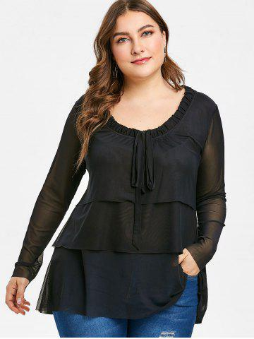 Plus Size Bow Tie Layered See Through Blouse