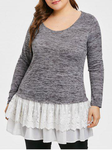 Plus Size Pleated High Low Hem Splicing T-shirt