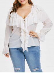 Plus Size Ruffled Overlay Top -
