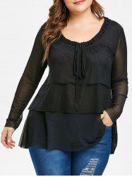 Plus Size Bow Tie Layered See Through Blouse -