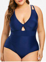 Plunge One-Piece Plus Size Backless Swimsuit -