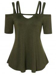 Cold Shoulder Strappy Tunic T Shirt -