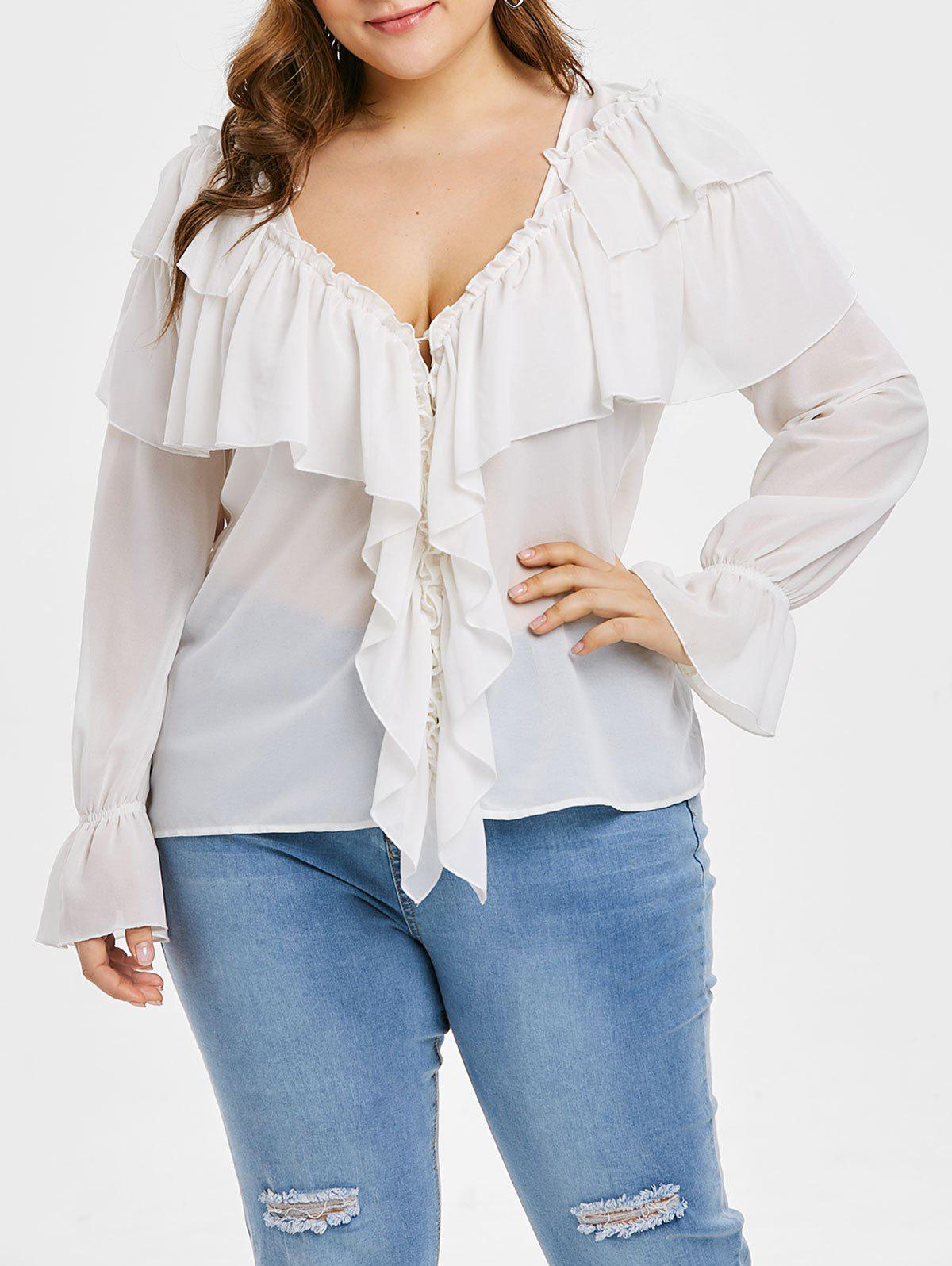 Store Plus Size Ruffled Overlay Top