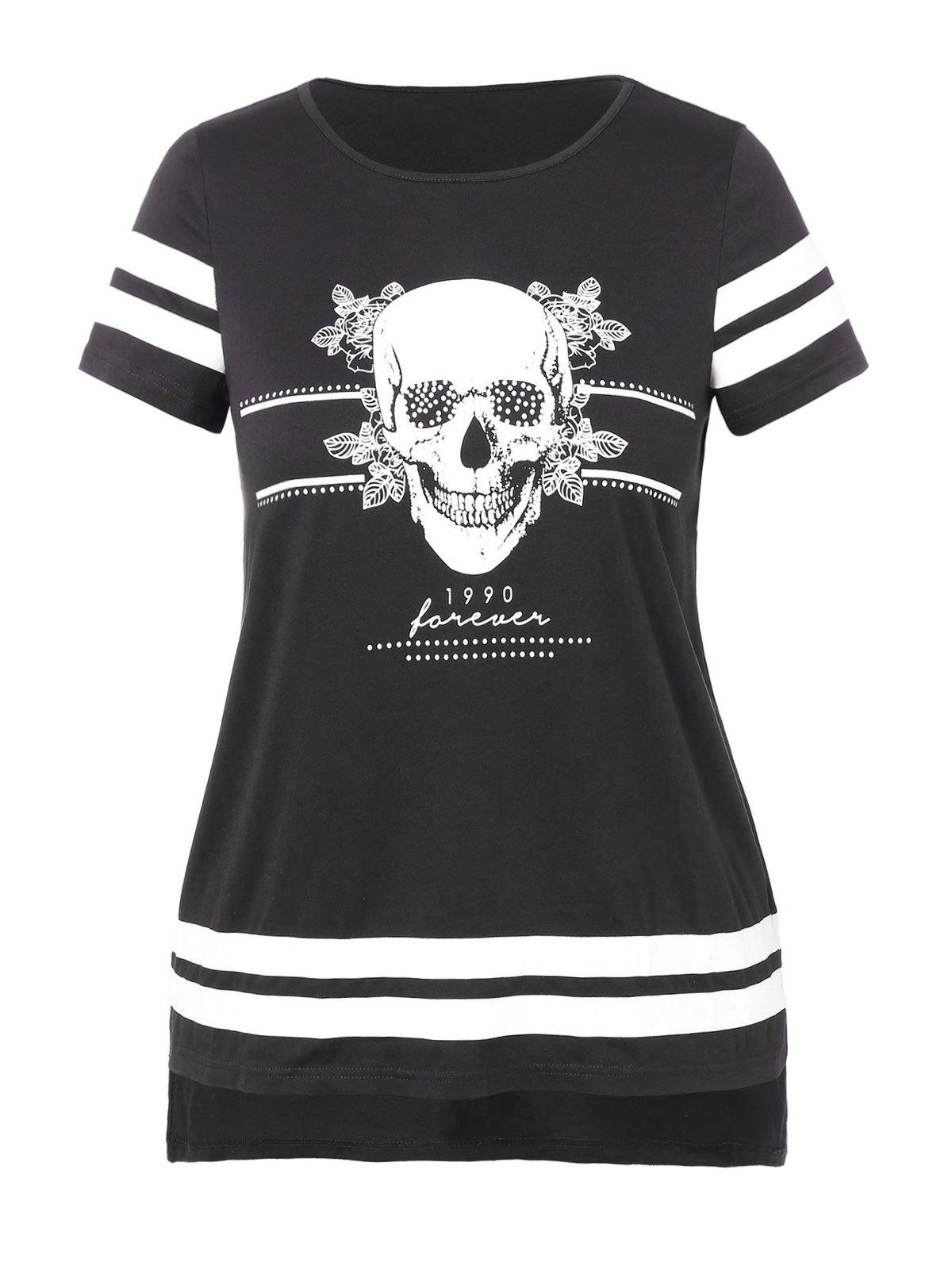757c604b Plus Size Contrast Color Skull Floral Striped Print High Low T-shirt - 1x