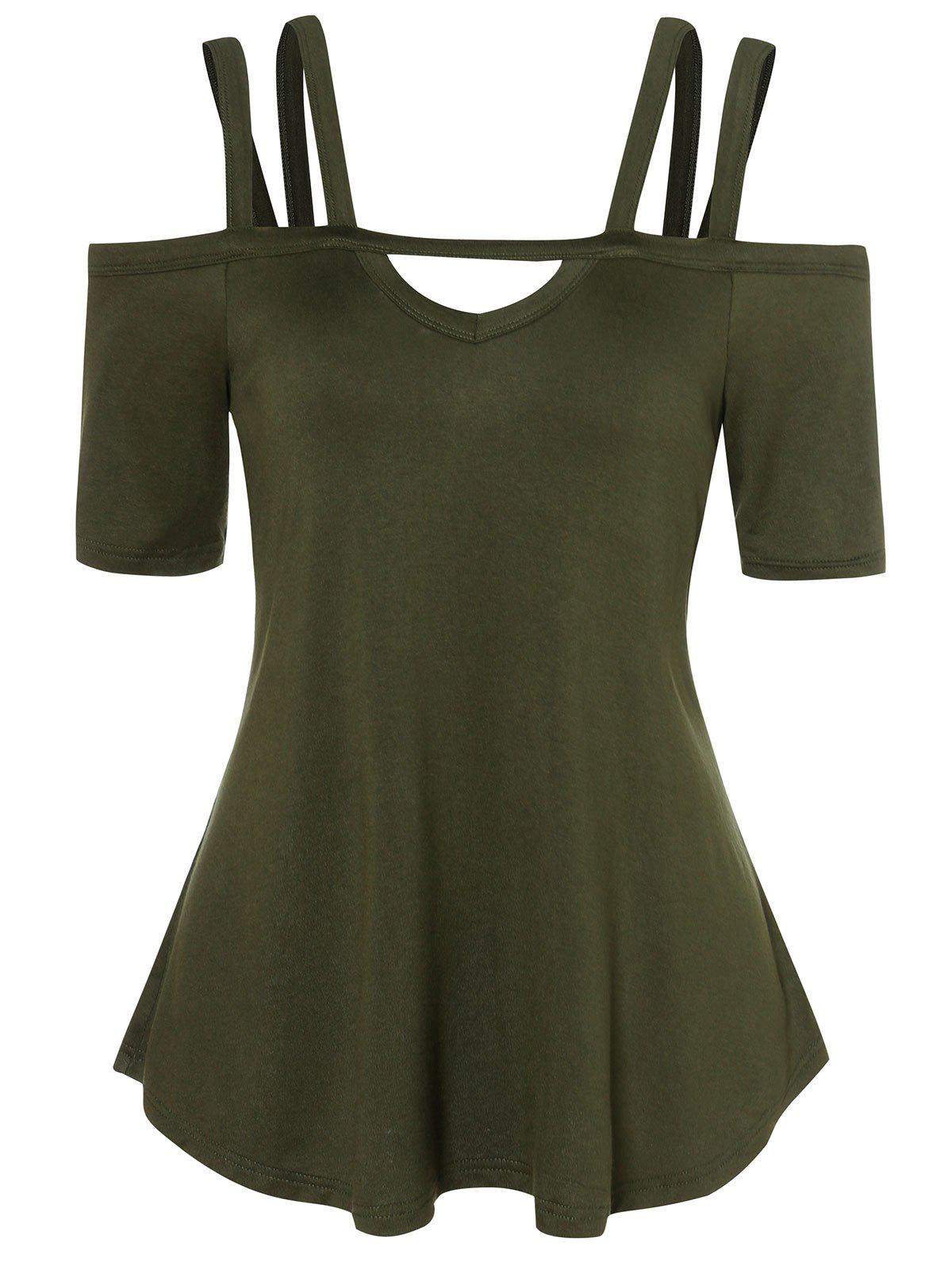 Trendy Cold Shoulder Strappy Tunic T Shirt