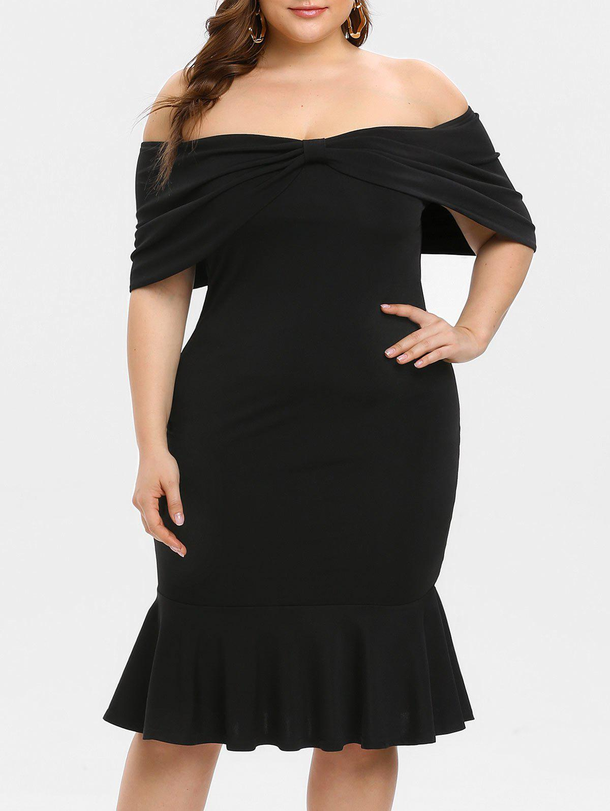 Shop Plus Size Off Shoulder Ruffles Bow Tie Dress