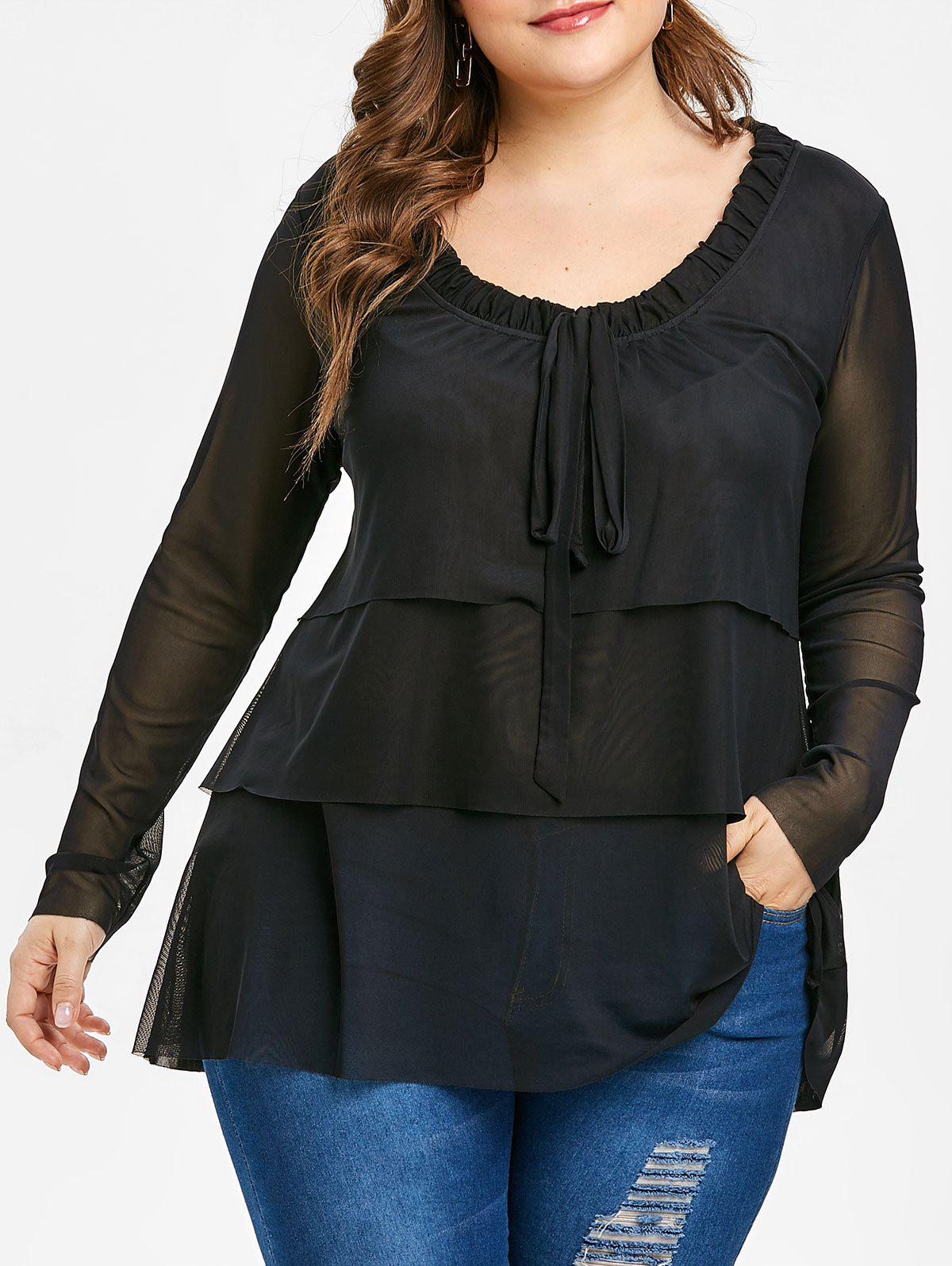 Fancy Plus Size Bow Tie Layered See Through Blouse