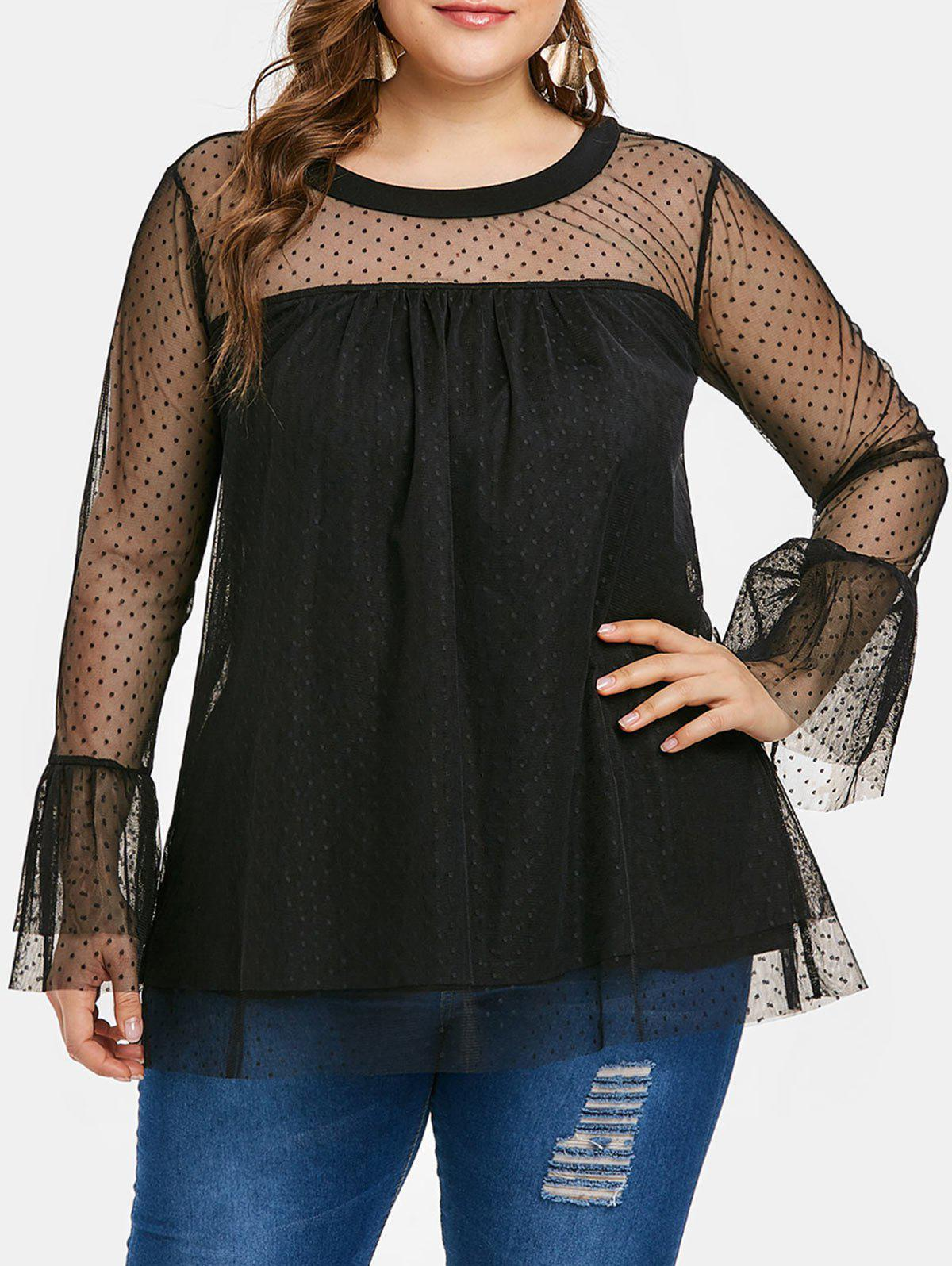 Hot Plus Size Sheer Flare Sleeve Mesh Blouse