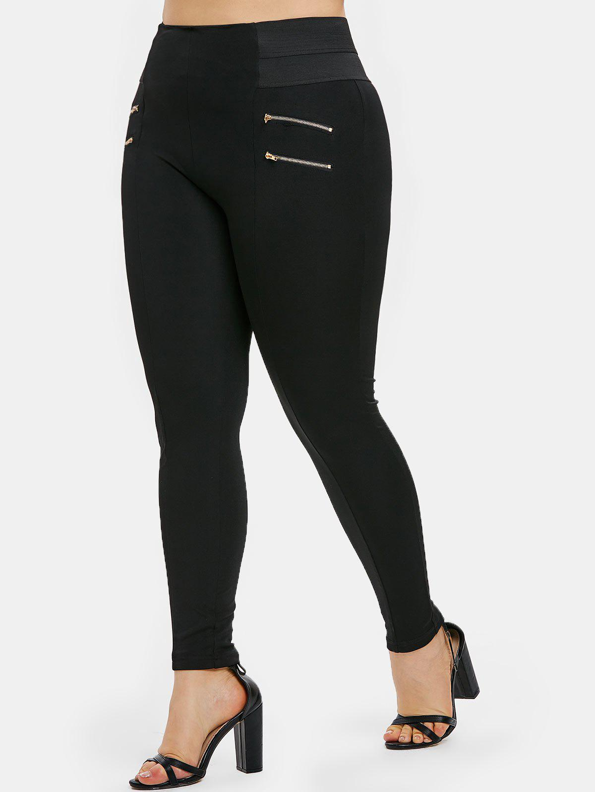 Fancy Plus Size Zips Embellished Elastic Waist Leggings