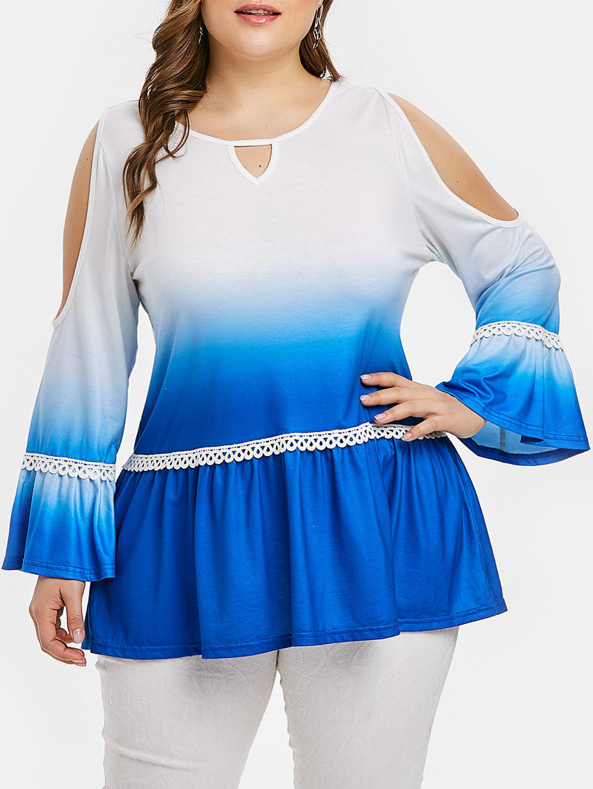 Discount Plus Size Cold Shoulder Ombre Bell Sleeve Keyhole T-shirt