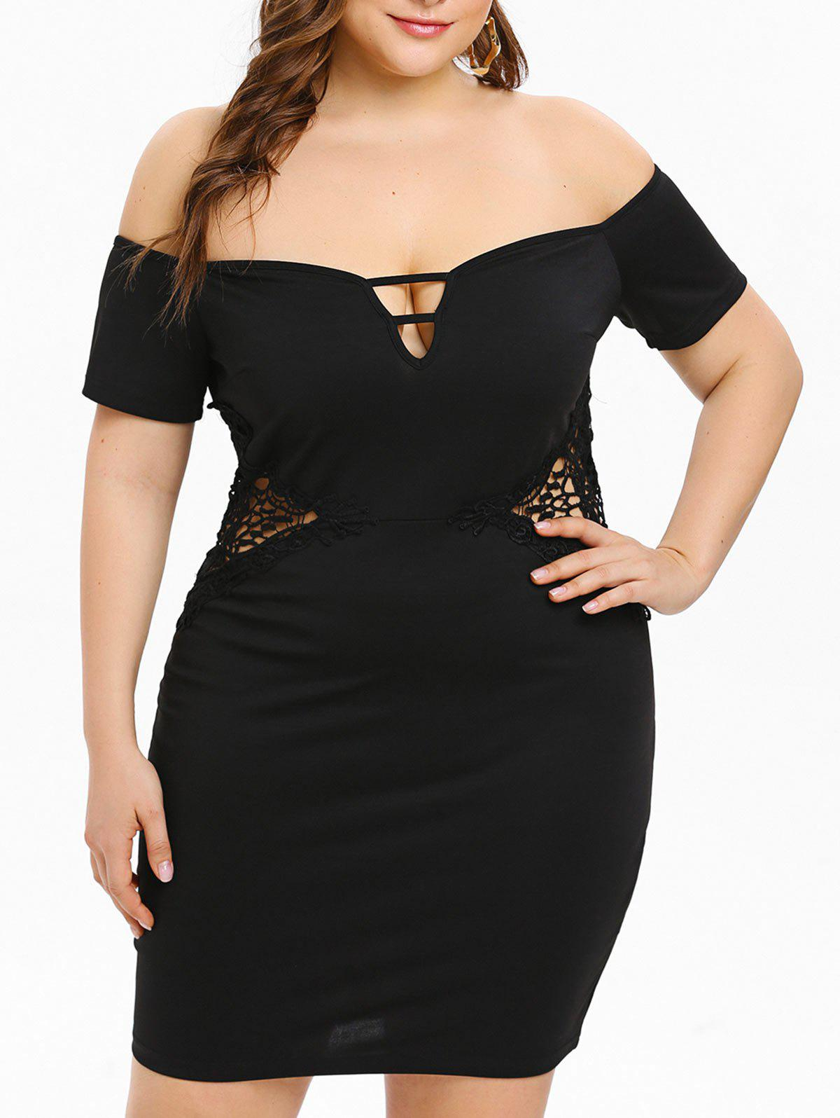Store Plus Size Applique Hollow Out Waist Off Shoulder Deep V Neck Dress
