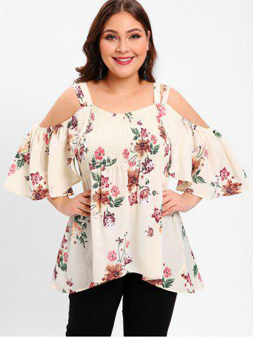 Plus Size Open Shoulder Floral High Low Blouse