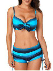 Knotted Ombre Drawstring Bikini Set -