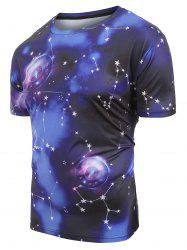 Universe Space Compass Stars Print Short Sleeves T-shirt -