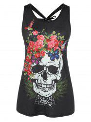 Skull and Floral Print Round Neck Plus Size Tank Top -