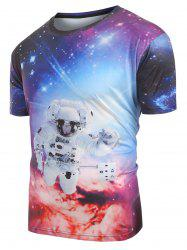 Universe Space Astronaut Print Casual T-shirt -