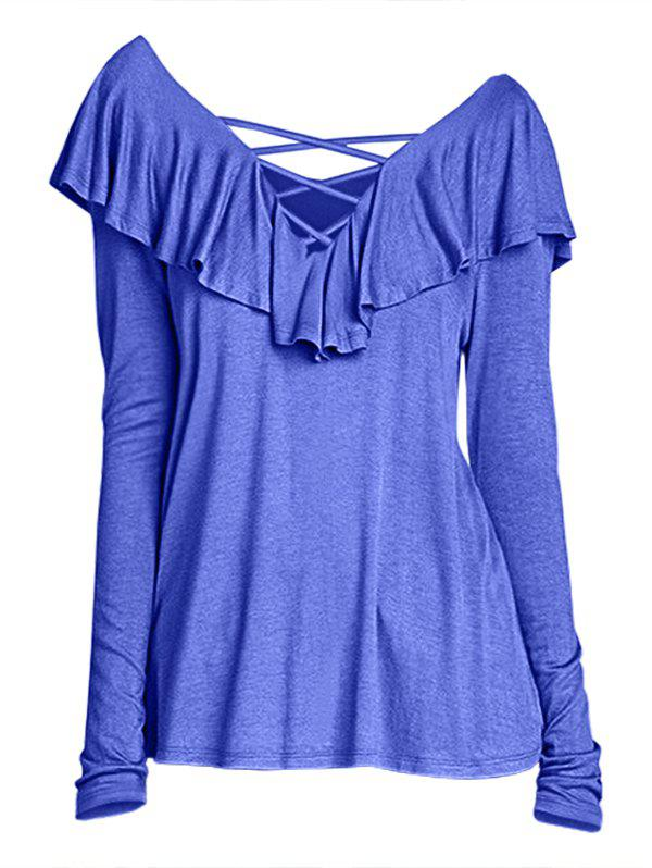 Affordable Long Sleeve Criss Cross Top