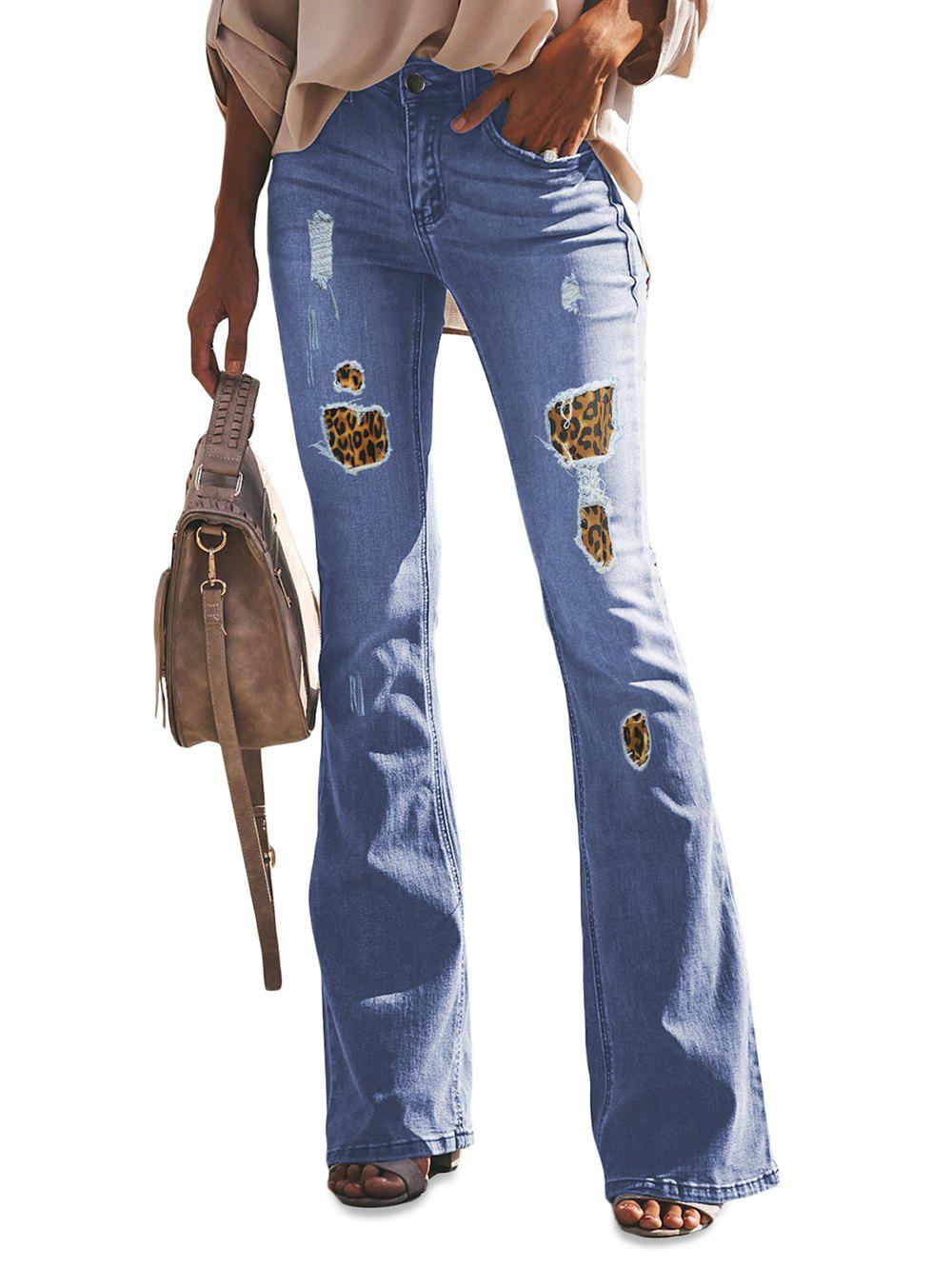 Hot Leopard Print Panel Wide Leg Jeans