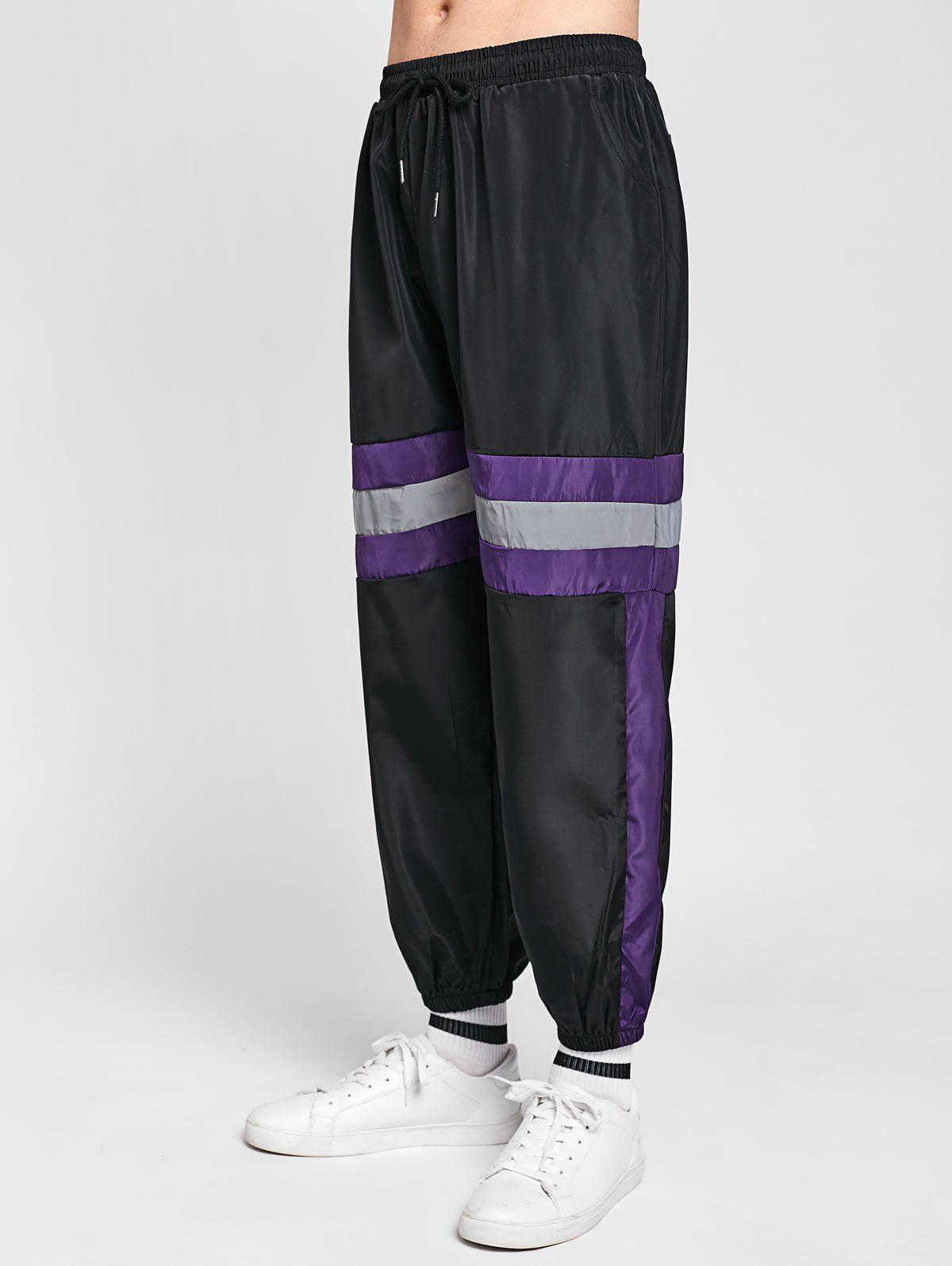 Shops Casual Reflective Strip Contrast Jogger Pants