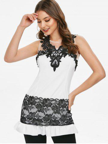 Mesh Insert Contrast Lace Flounced Bodycon Dress