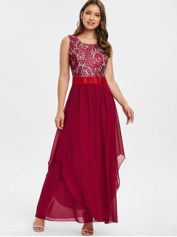 Lace Panel High Waisted Evening Dress