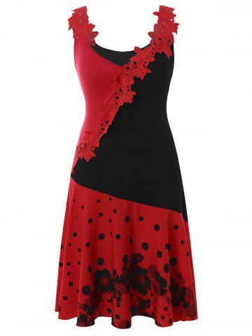 bf103743e7501 Plus Size Polka Dot Contrast Dress