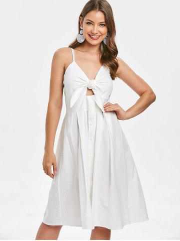 Smocked Tie Front Buttoned Dress
