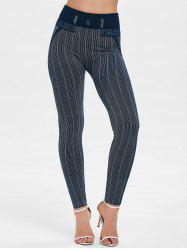 Striped High Waist Skinny Pants -