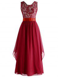 Lace Panel High Waisted Evening Dress -